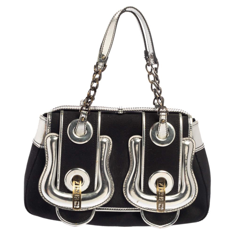 Fendi Black/Silver Canvas and Patent Leather B Bis Shoulder Bag