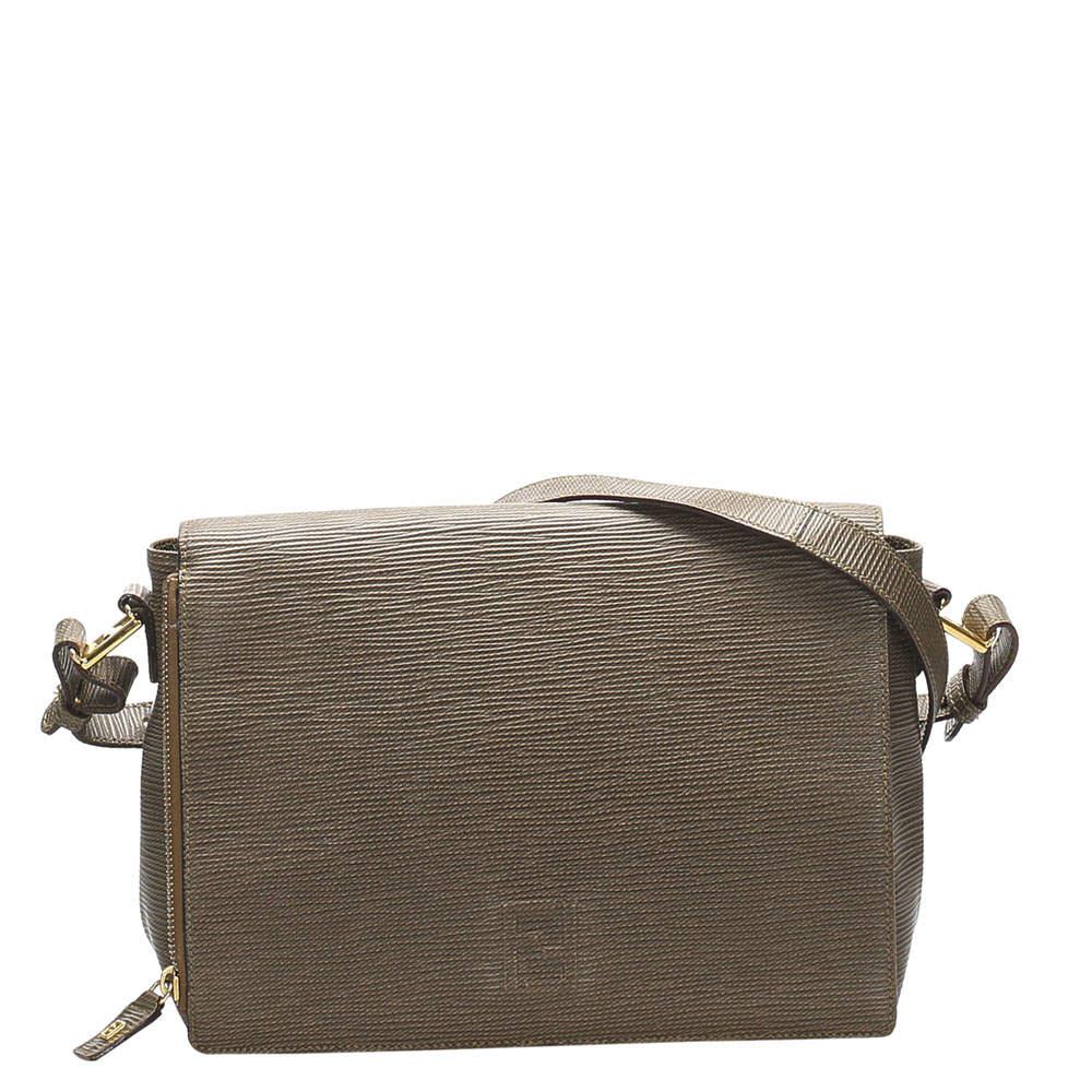 Fendi Brown Leather Crossbody Bag