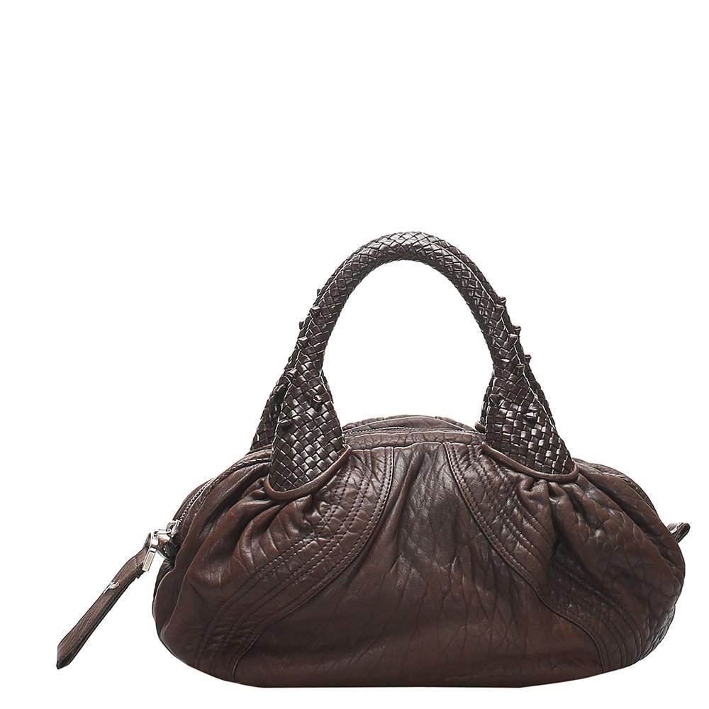 Fendi Brown Leather Spy Satchel