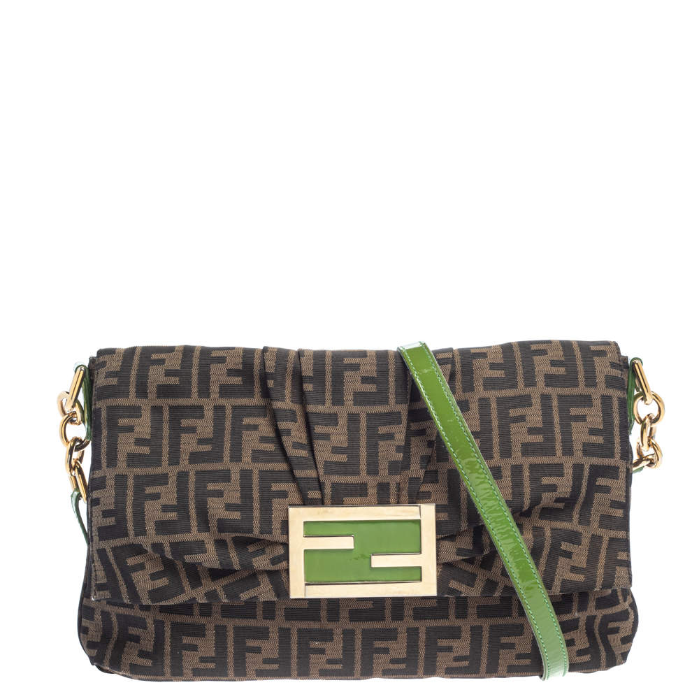 Fendi Tobacco/Green  Zucca Canvas And Patent Leather Mia Flap Shoulder Bag