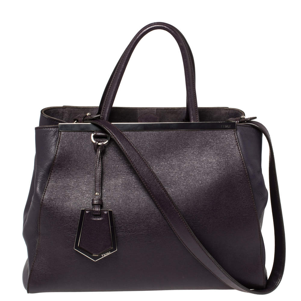 Fendi Purple Leather Medium 2Jours Tote