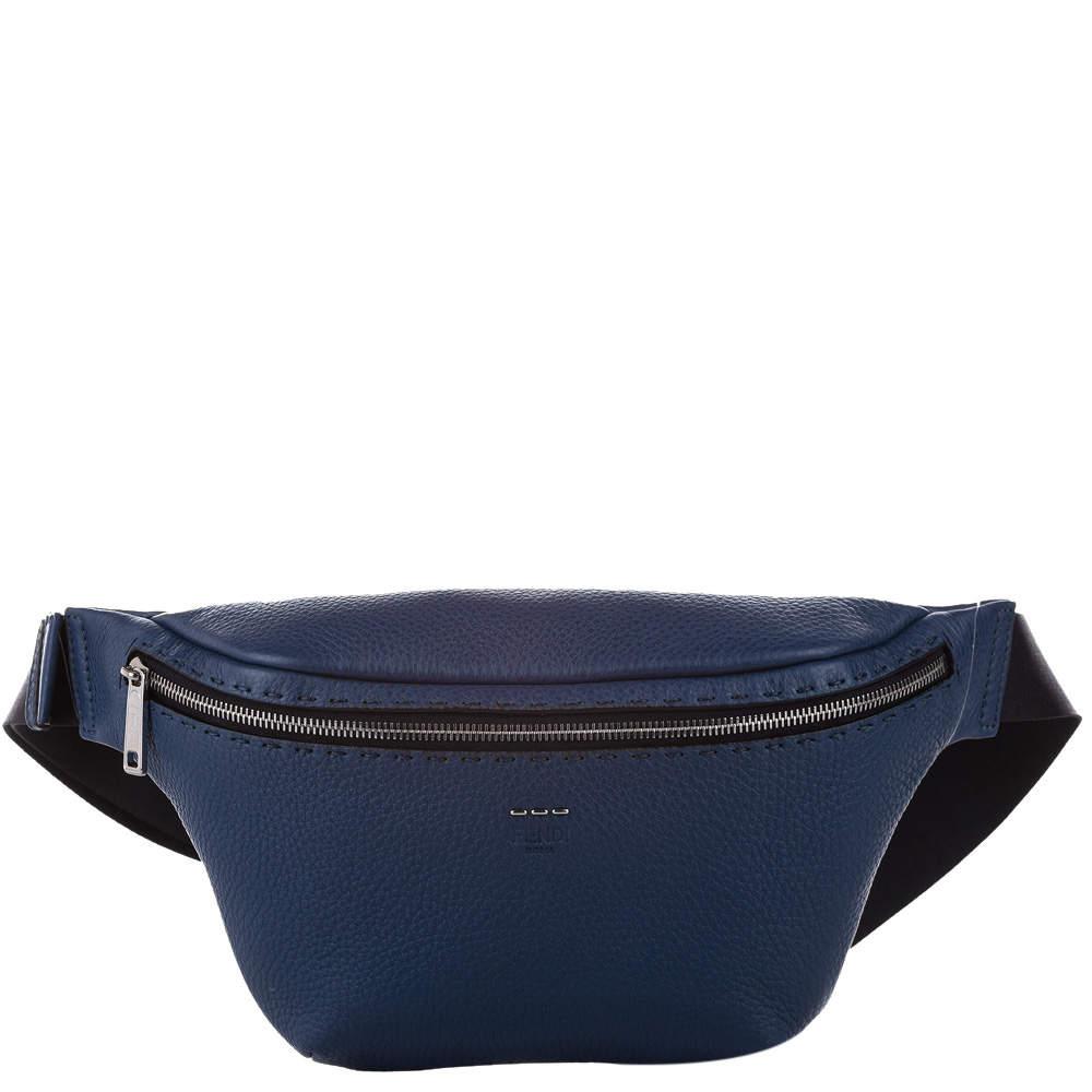 Fendi Blue Romano Leather Belt Bag