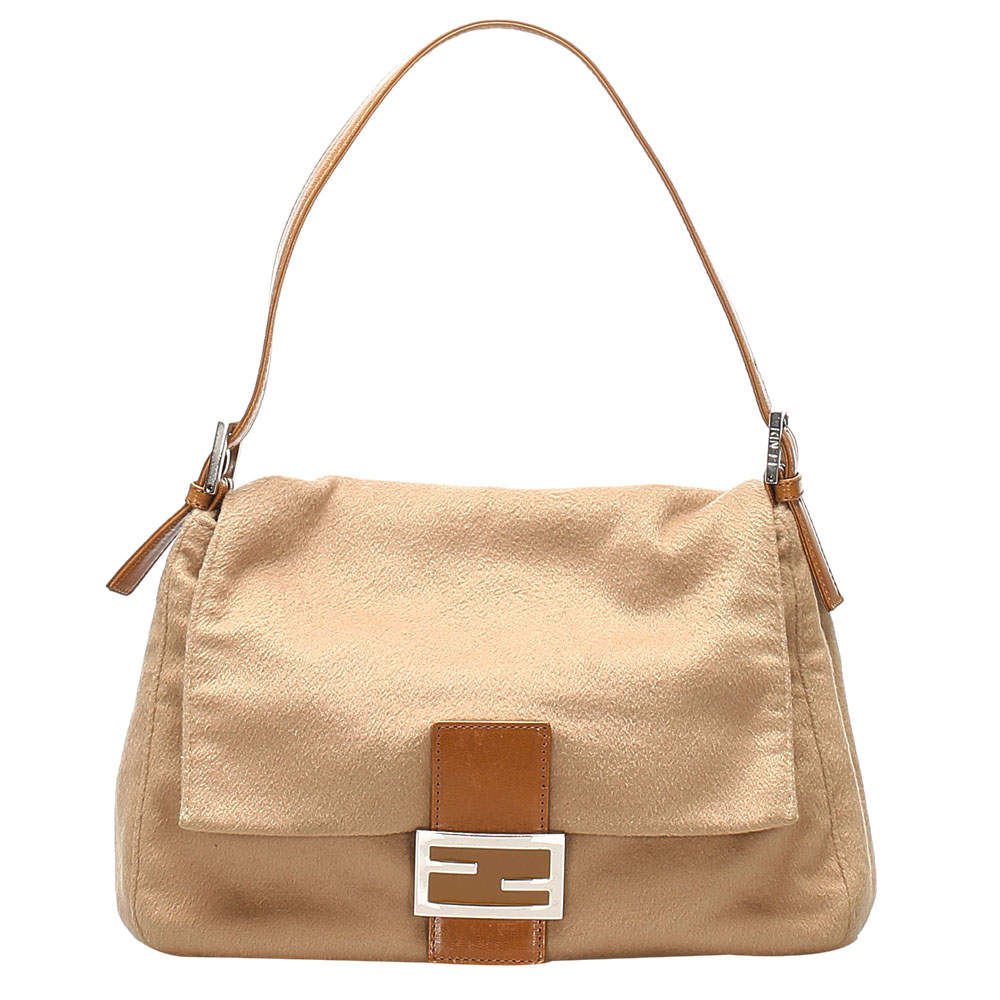 Fendi Brown/Beige Fabric and Cotton Mamma Forever Flap Shoulder Bag