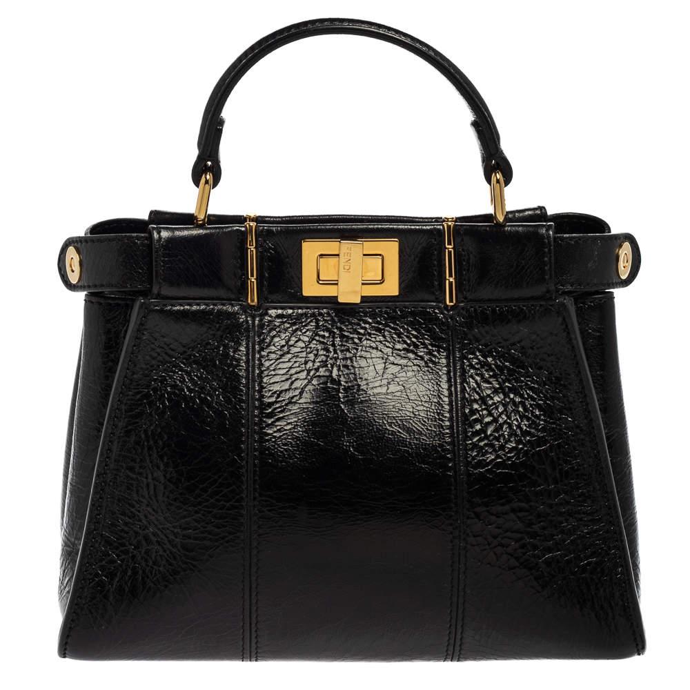 Fendi Black Crinkled Leather Mini Peekaboo Top Handle Bag