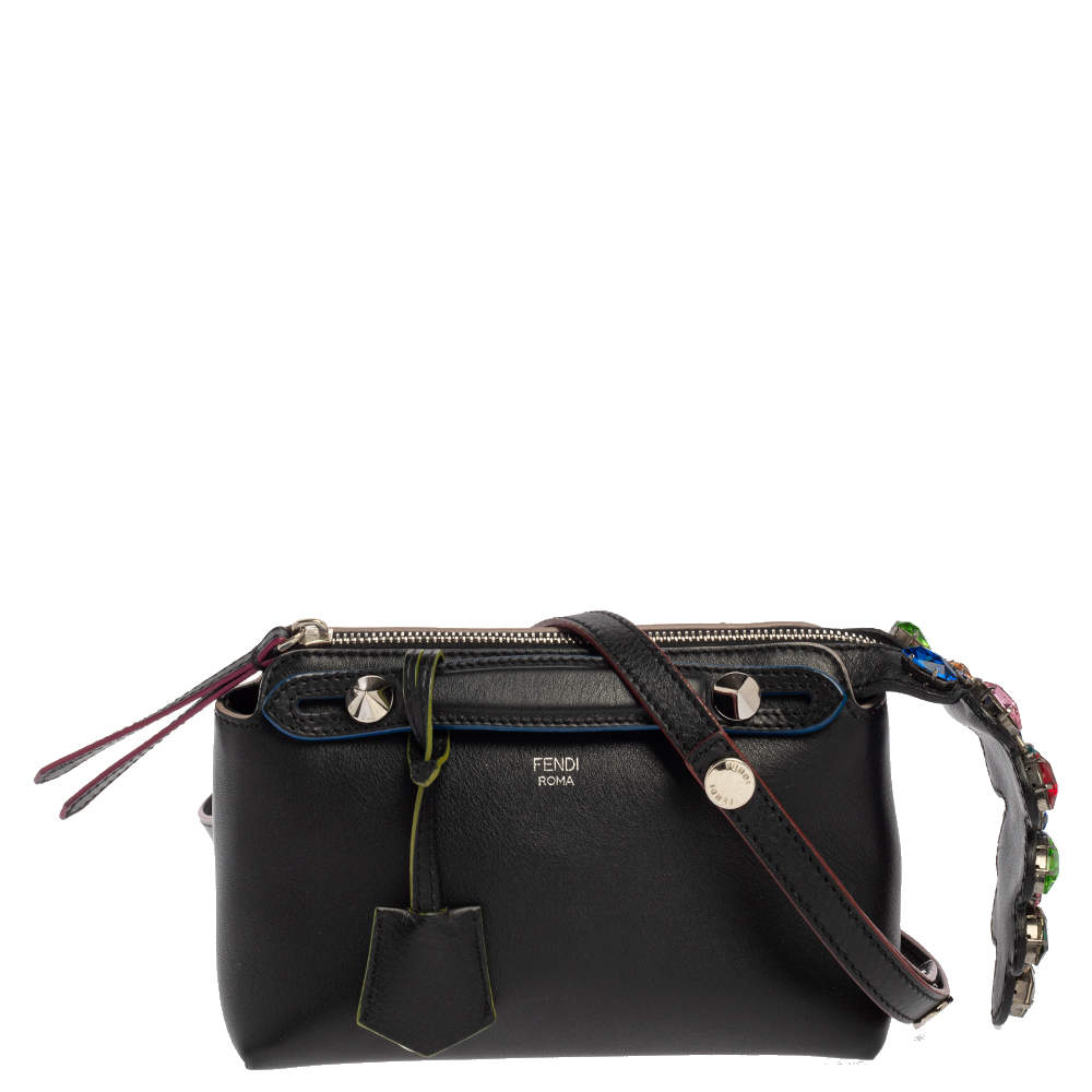Fendi Black Leather Jewel Embellished Mini By The Way Crossbody Bag