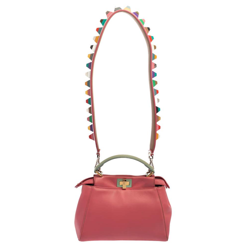 Fendi Pink/Green Leather Mini Peekaboo Top Handle Bag