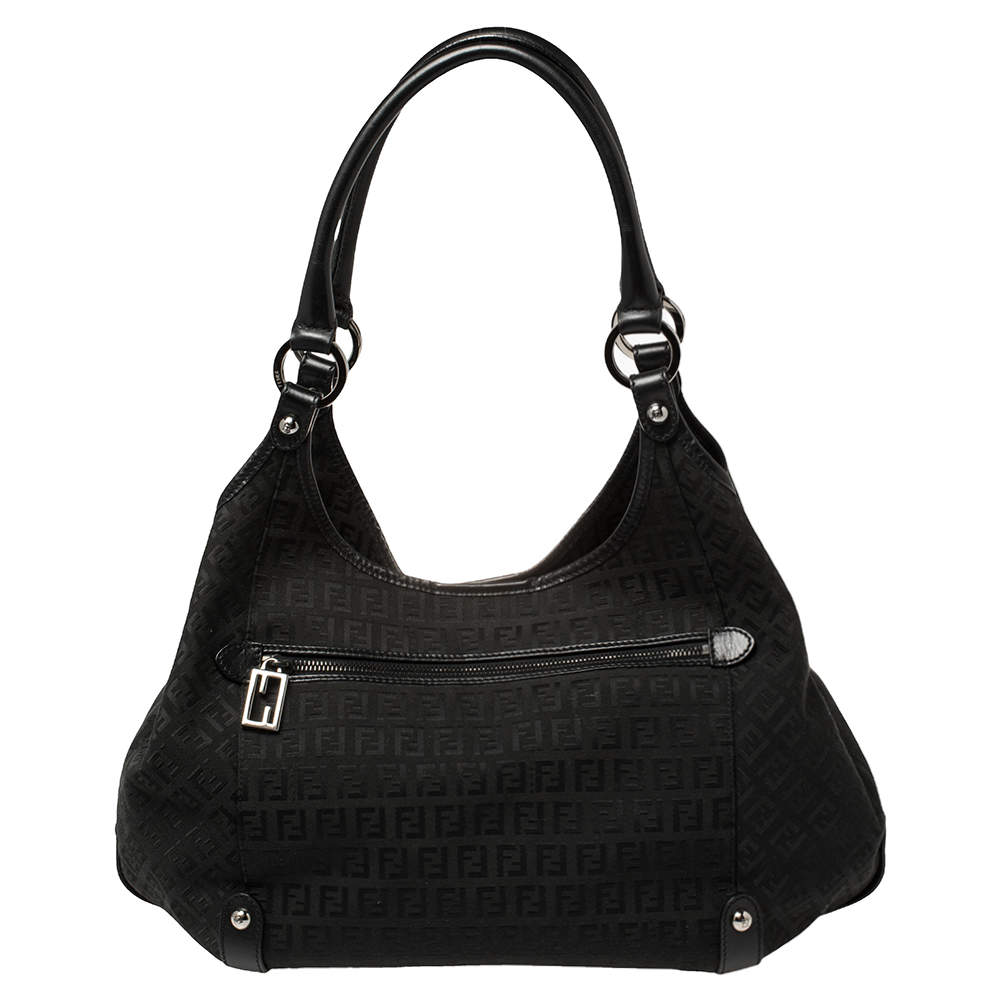Fendi Black Zucchino Canvas and Leather Tote