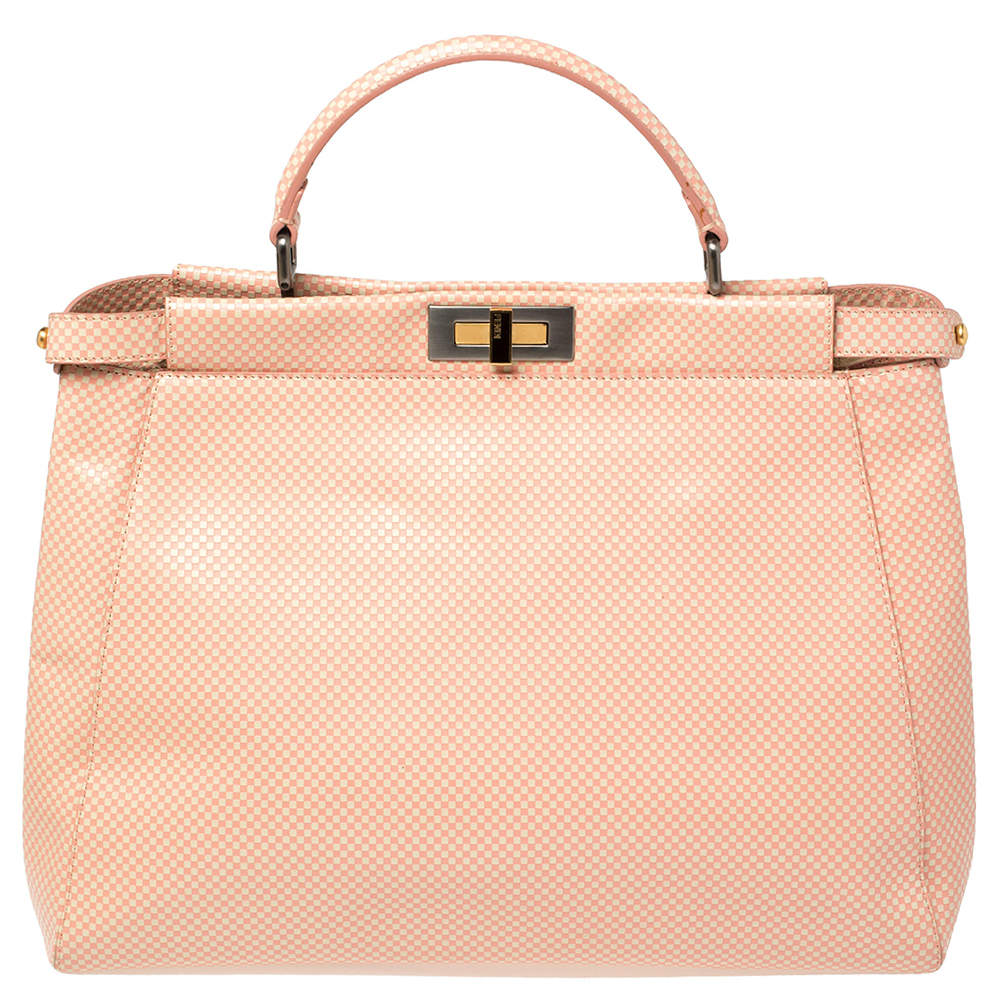Fendi Pink/White Checkered Leather Large Peekaboo Top Handle Bag