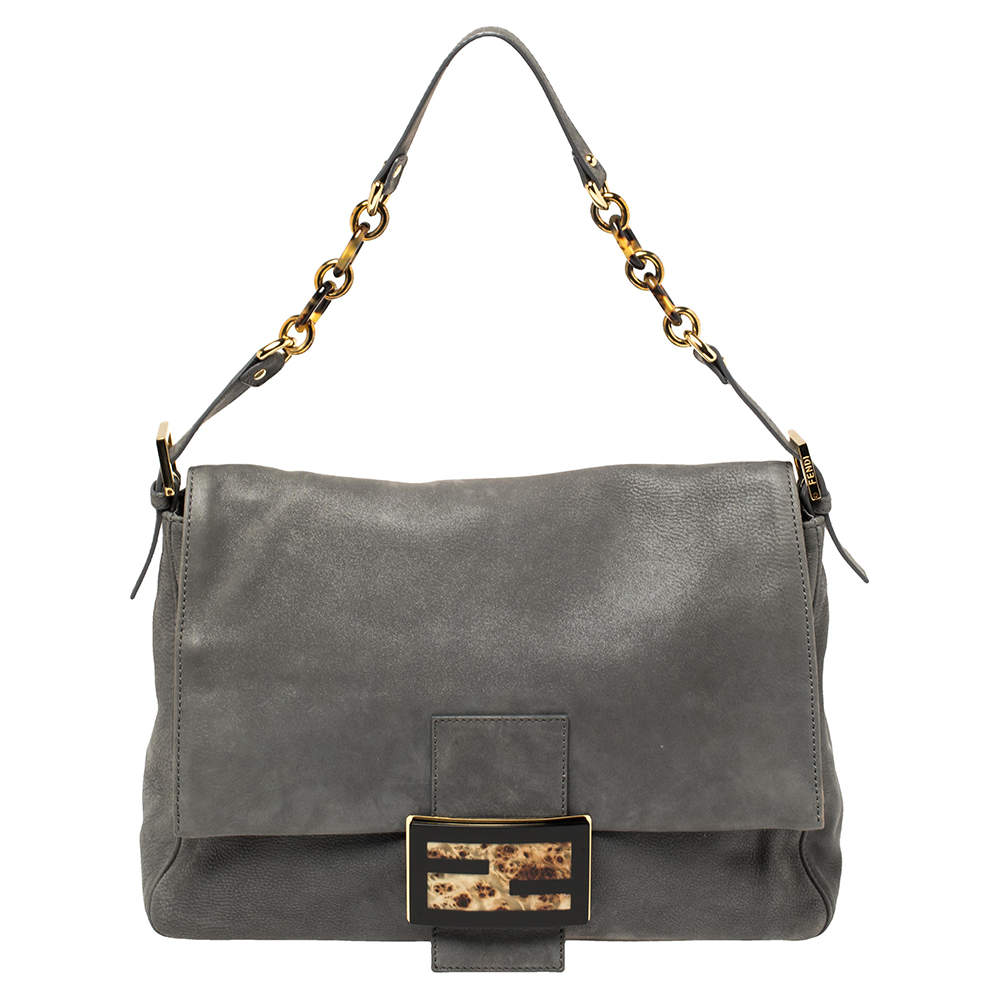 Fendi Metallic Grey Nubuck Mama Forever Shoulder Bag