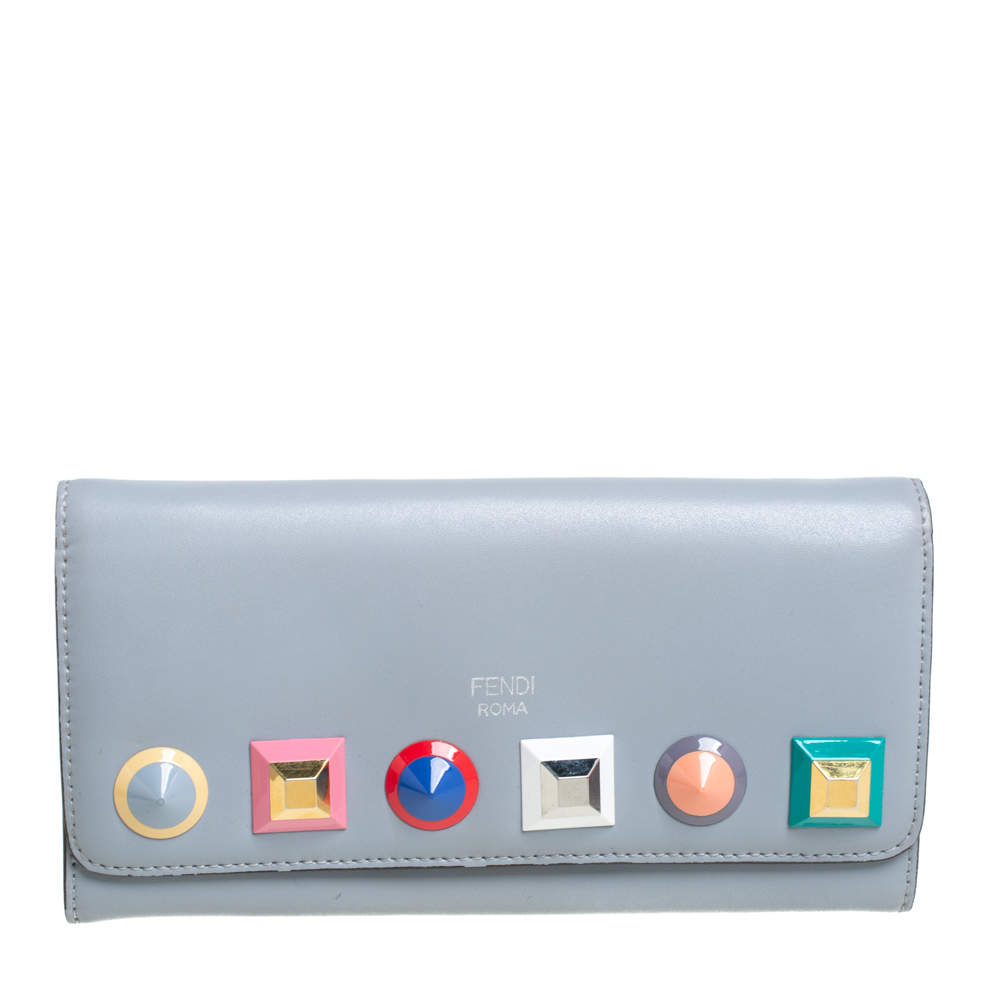 Fendi Gey Leather Studded Wallet On Chain