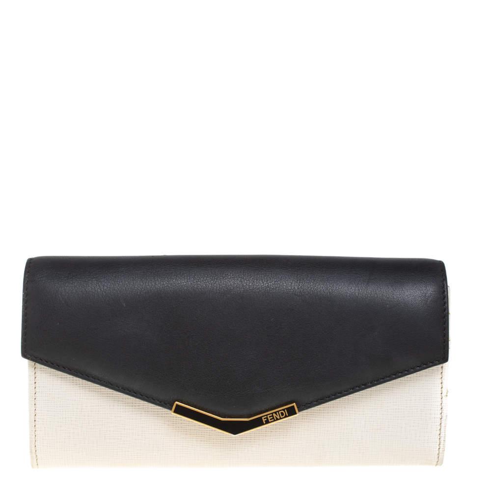 Fendi Off White/Black Leather Envelope Continental Wallet