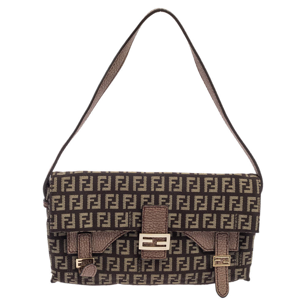 Fendi Brown Zucchino Canvas And Leather Baguette Shoulder Bag