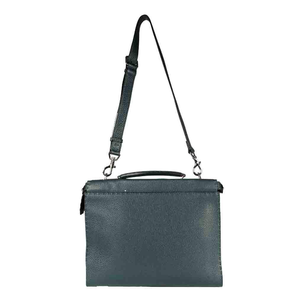 Fendi Green Leather Selleria Peekaboo Iconic Fit Tote Bag
