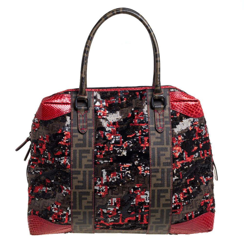 Fendi Red/Tobacco Zucca Coated Canvas, Sequins and Snakeskin B Mix Tote