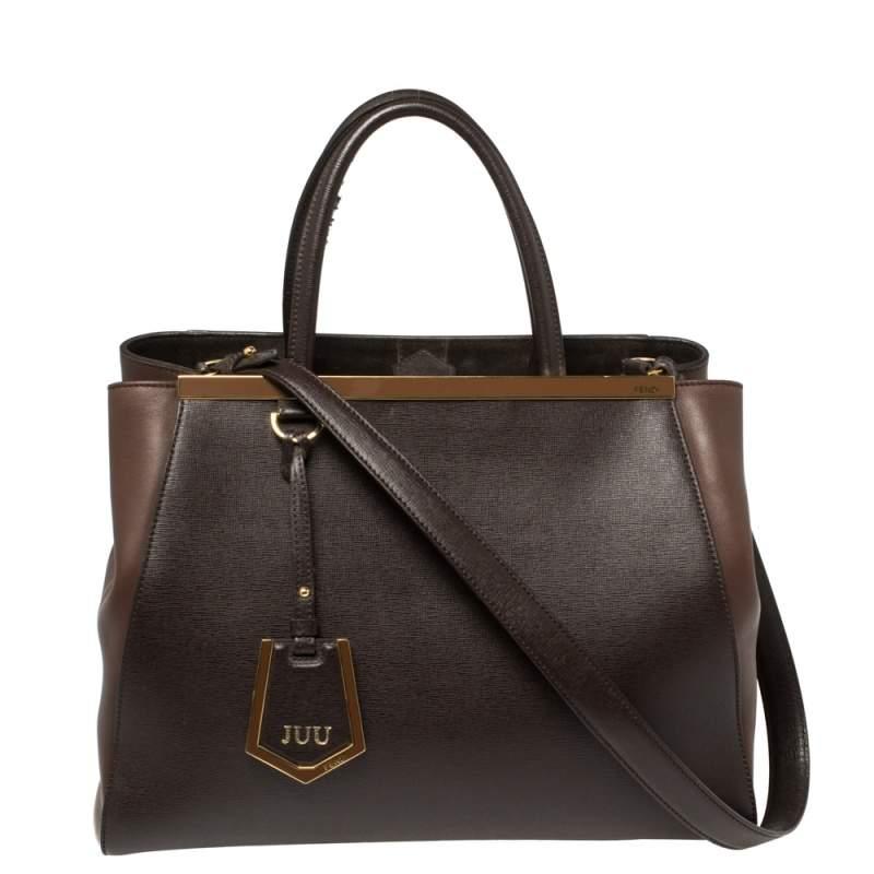 Fendi Two Tone Brown Leather Medium 2Jours Tote