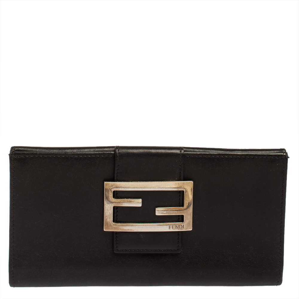 Fendi Black Leather FF Flap Continental Wallet