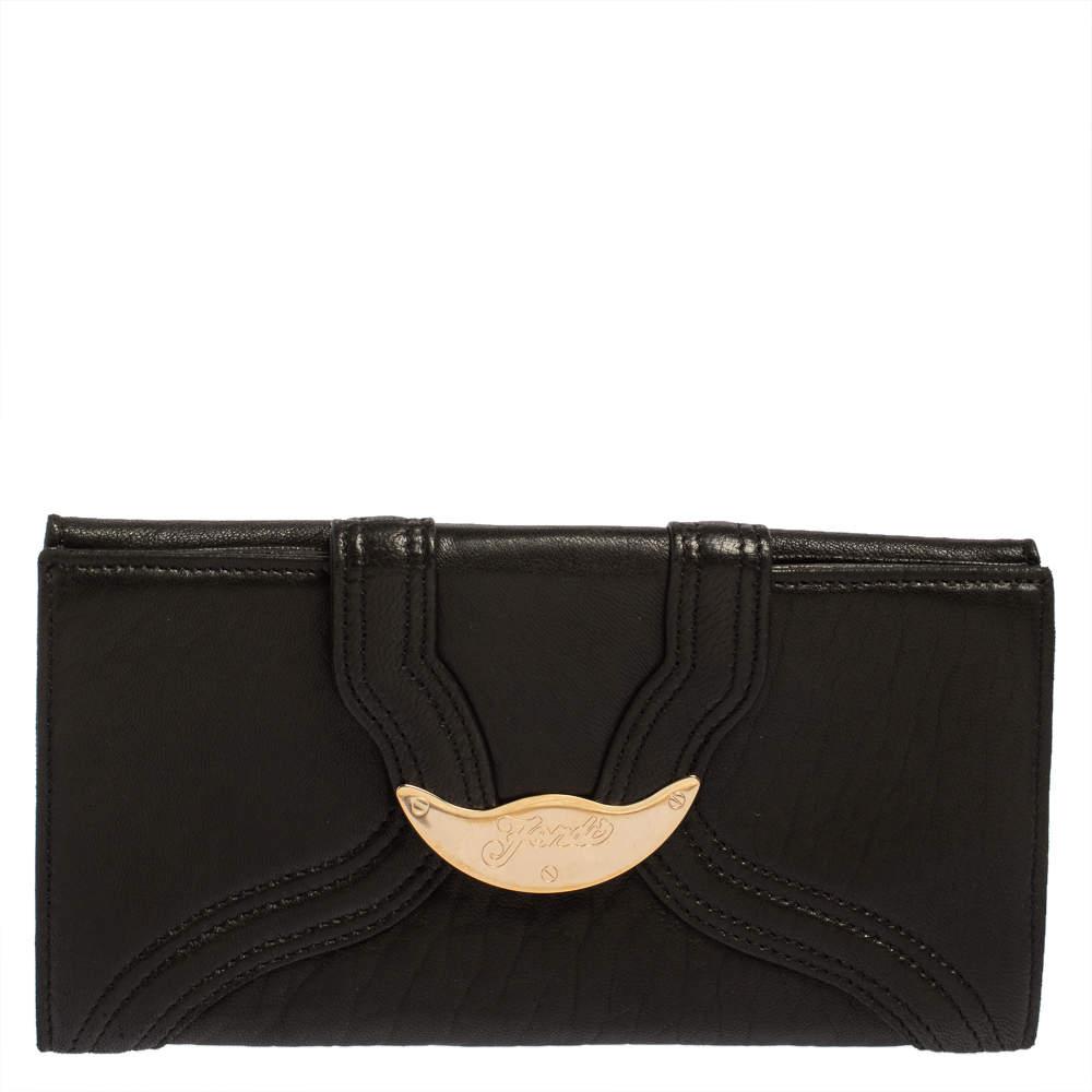 Fendi Black Soft Leather Logo Flap Continental Wallet