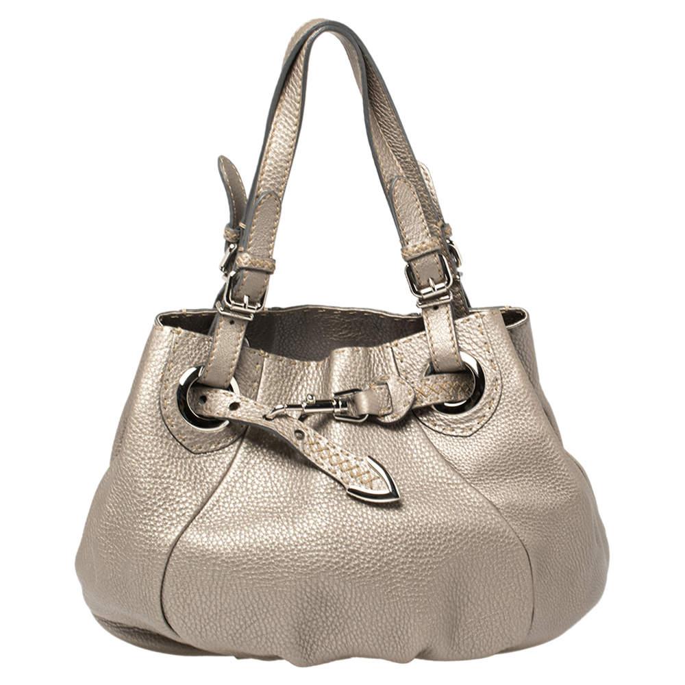 Fendi Grey Selleria Leather Pomodorino Shoulder Bag