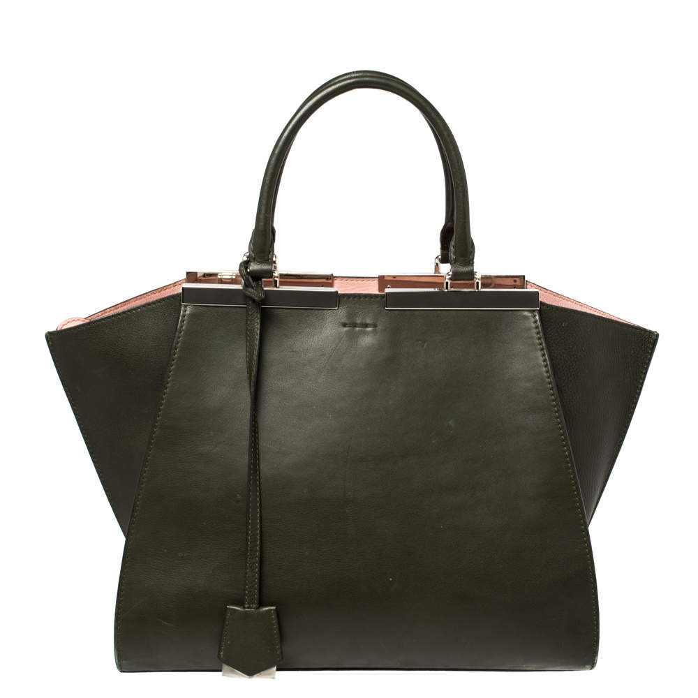 Fendi Green Leather Large 3Jours Tote