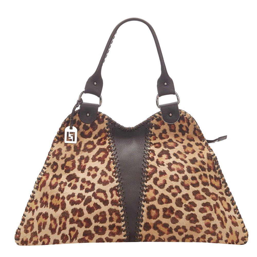 Fendi Brown Pony Hair Diavolo Trapezio Shoulder Bag
