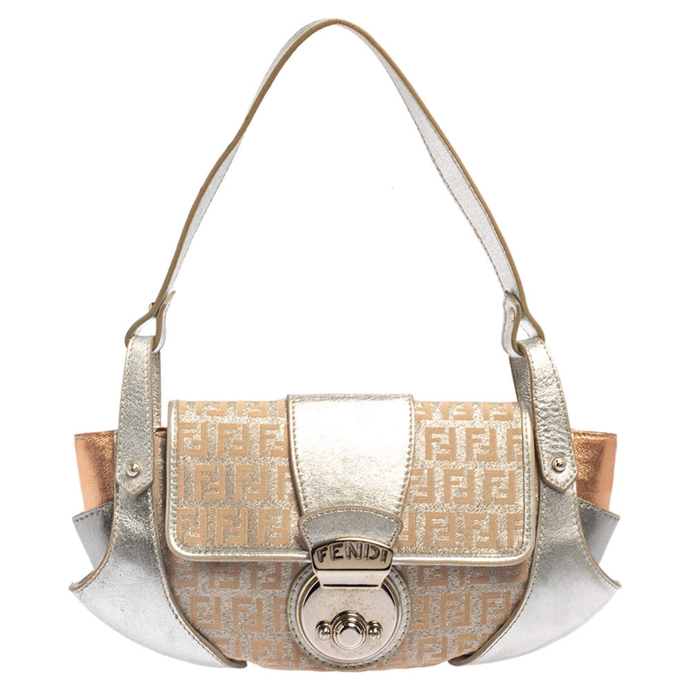 Fendi Metallic Silver Zucchino Canvas and Leather Borsa Tuc Shoulder Bag