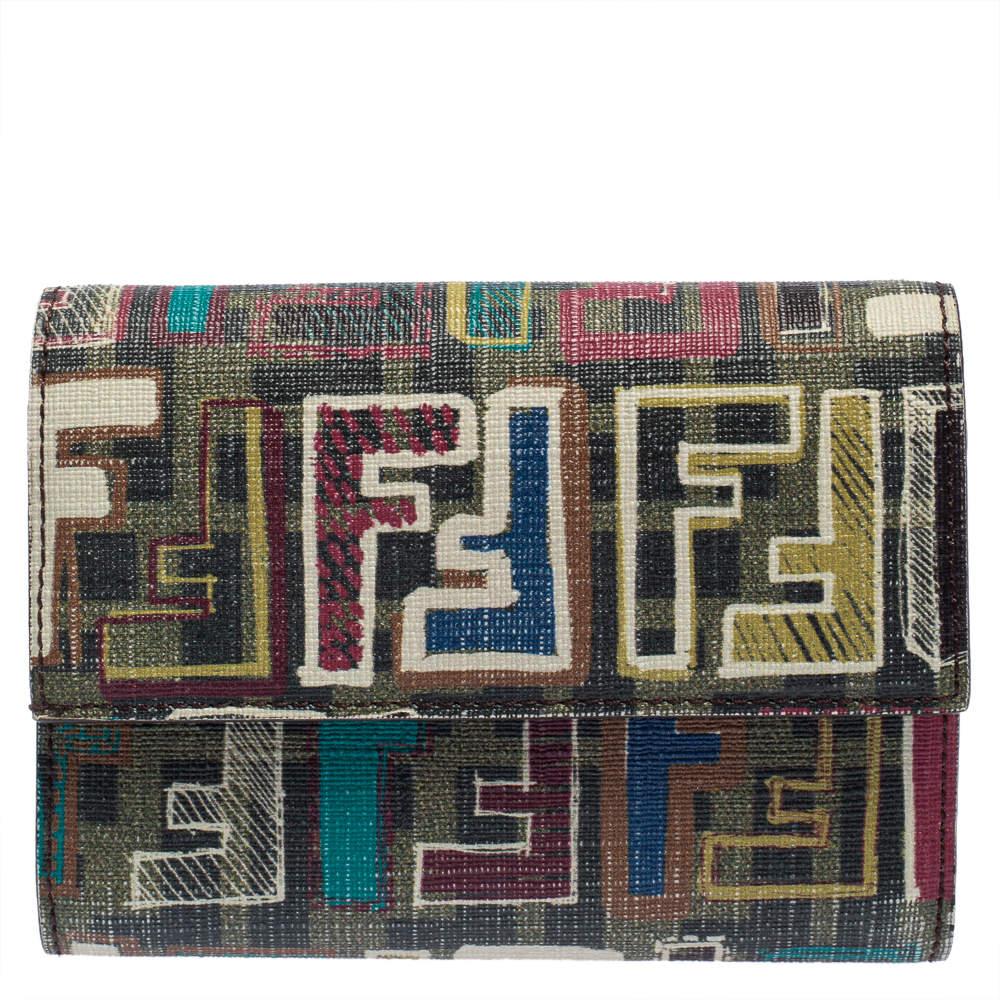 Fendi Multicolor Coated Canvas Trifold Wallet