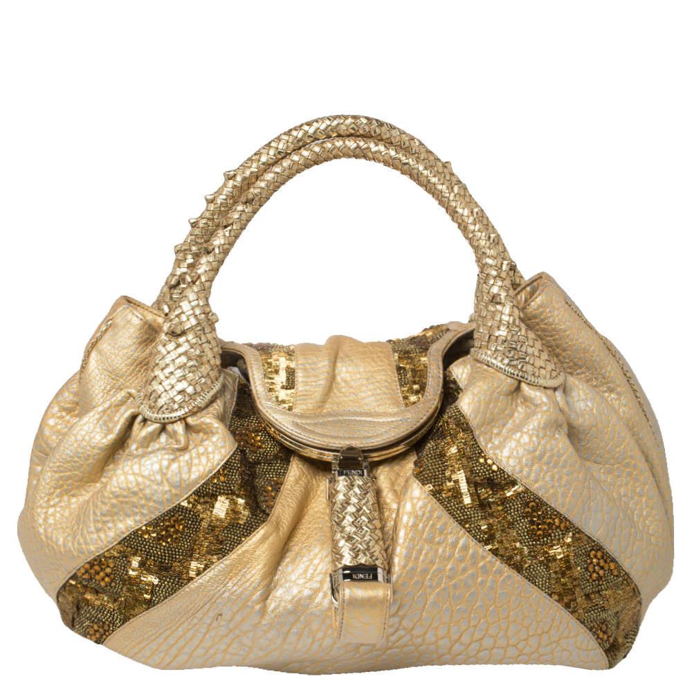 Fendi Gold Iridescent Textured Leather Limited Edition 9/10 Spy Embellished Bag