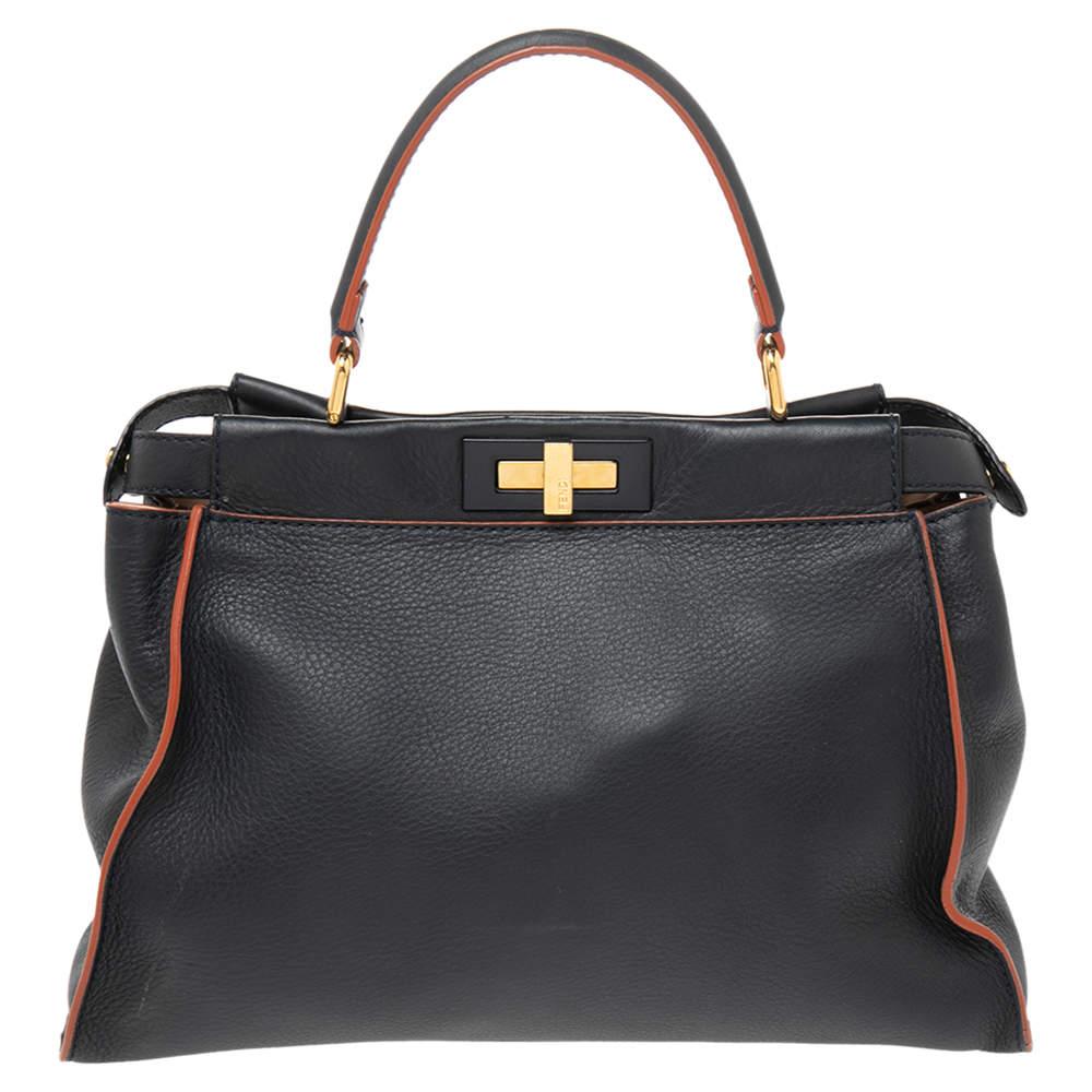 Fendi Dark Blue Leather Medium Peekaboo Top Handle Bag