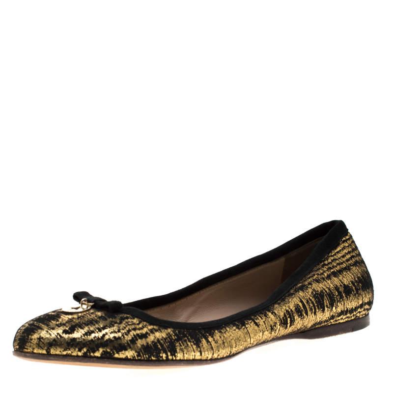 Fendi Metallic Black Textured Suede Bow Ballet Flats Size 38