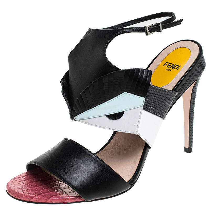 Fendi Multicolor Leather and Lizard Monster Bugs Ankle Strap Sandals Size 41