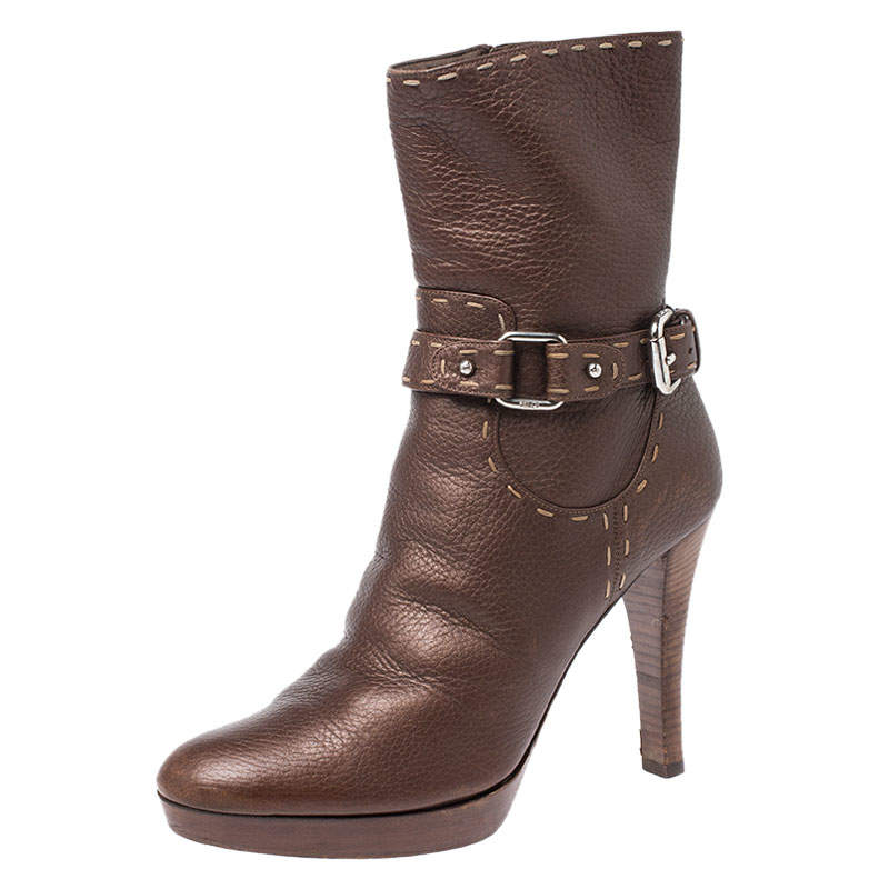 Fendi Bronze Whip Stitch Leather Buckle Ankle Boots Size 39.5