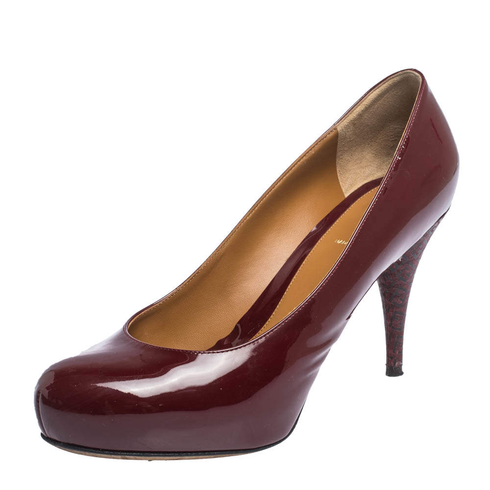 Fendi Burgundy Patent Leather FF Heels Round Toe Platform Pumps Size 39