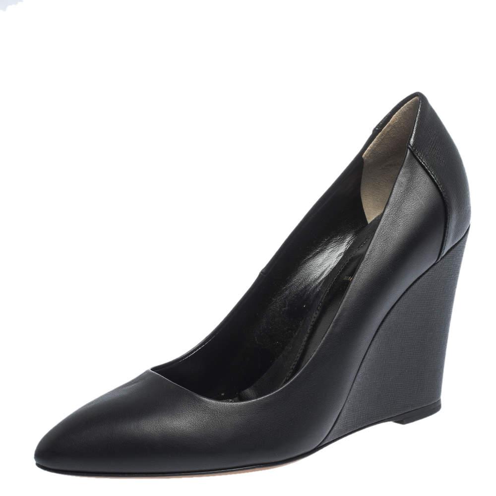 Fendi Black Leather Pointed Toe Wedge