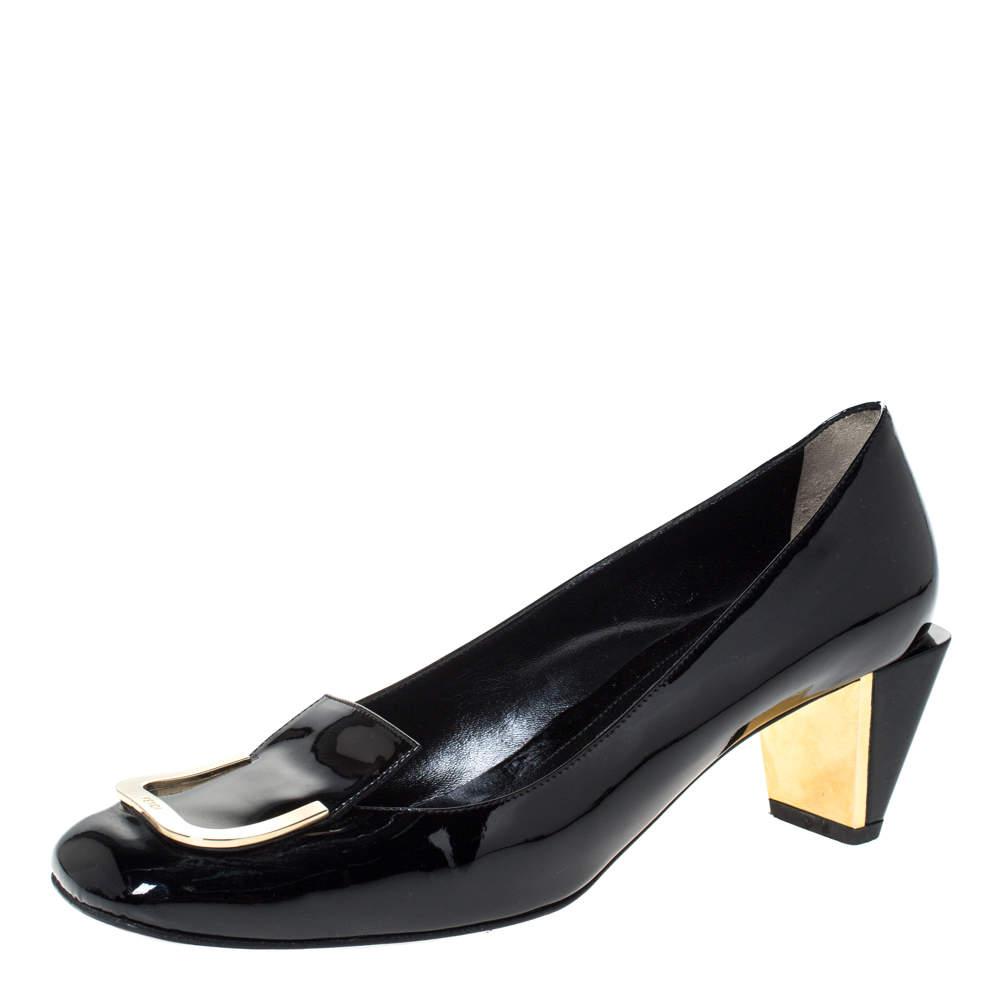 Fendi Black Patent Leather Square Toe Pumps Size 39.5