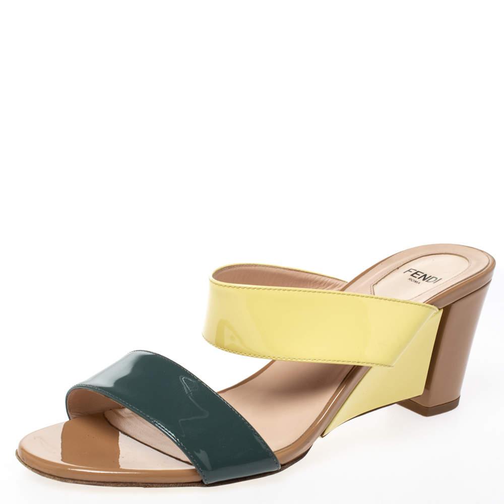 Fendi Multicolor Patent Leather Wedge Slide Sandals Size 39.5