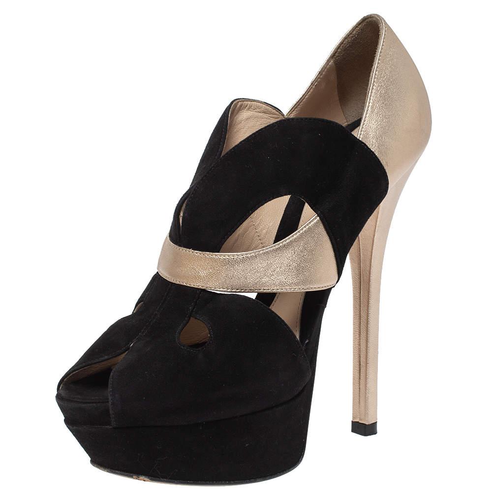 حذاء كعب عالى فندى نعل سميك مقدمة مفتوحة جلد وسويدى قصة ليزر ذهبى / أسود مقاس 38