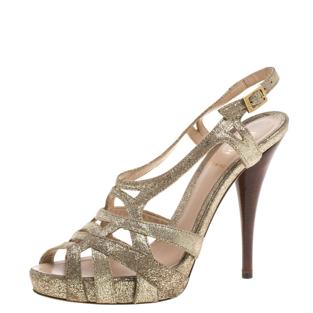 Fendi Grey Gold Foiled Suede Caged Ankle Strap Sandals Size 37.5