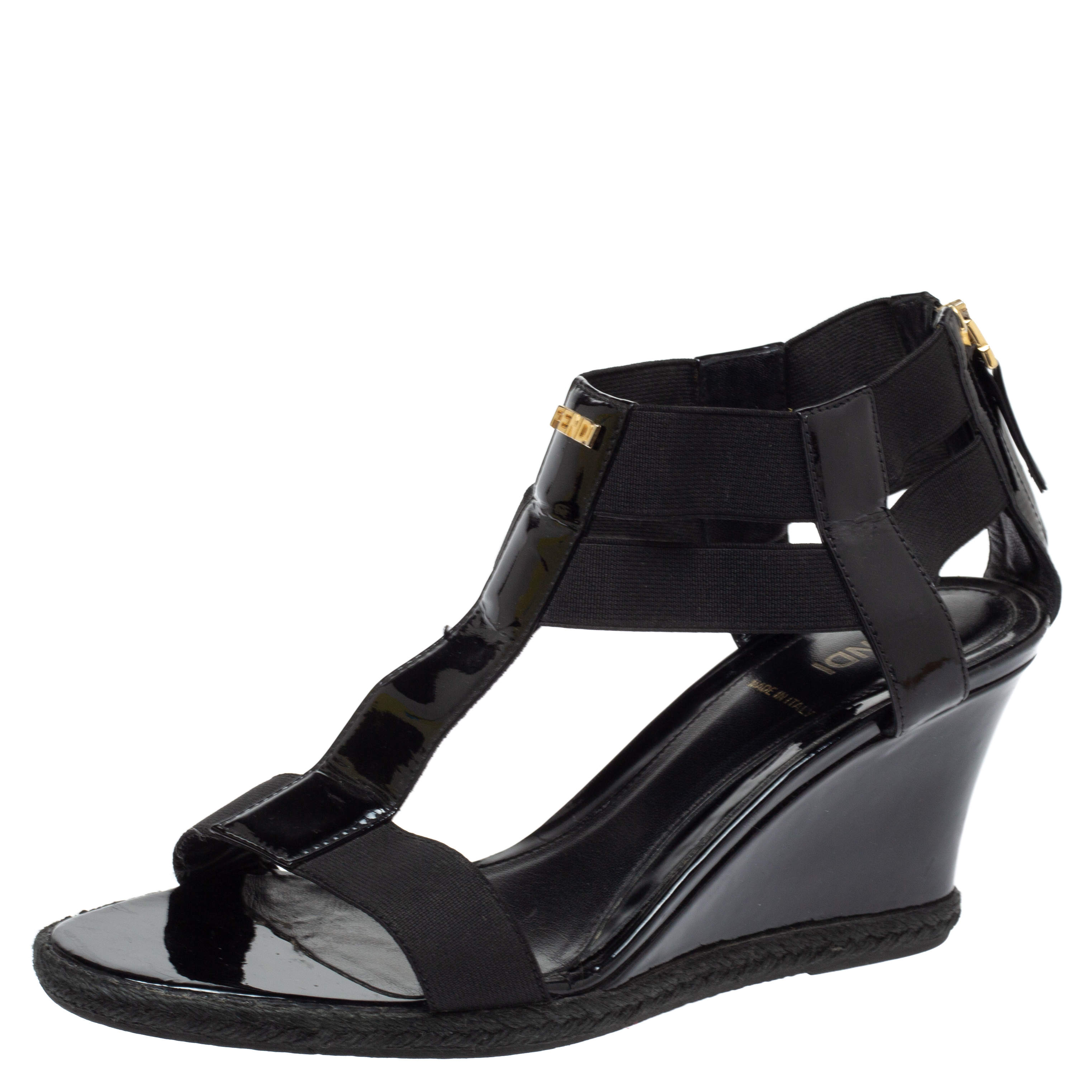 Fendi Black Patent Leather And Elastic Fabric T Strap Espadrille Wedge Sandals Size 39