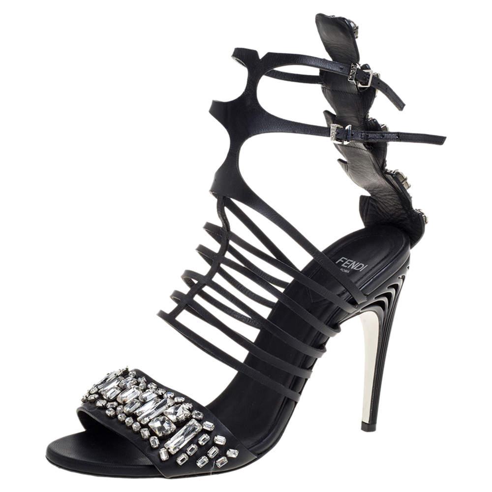 Fendi Black Leather Crystal Embellished Runway Strappy Sandals Size 38.5