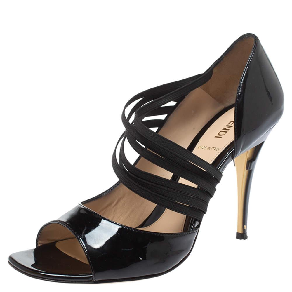Fendi Black Patent Leather Open Toe Strappy Slip On Sandals Size 39