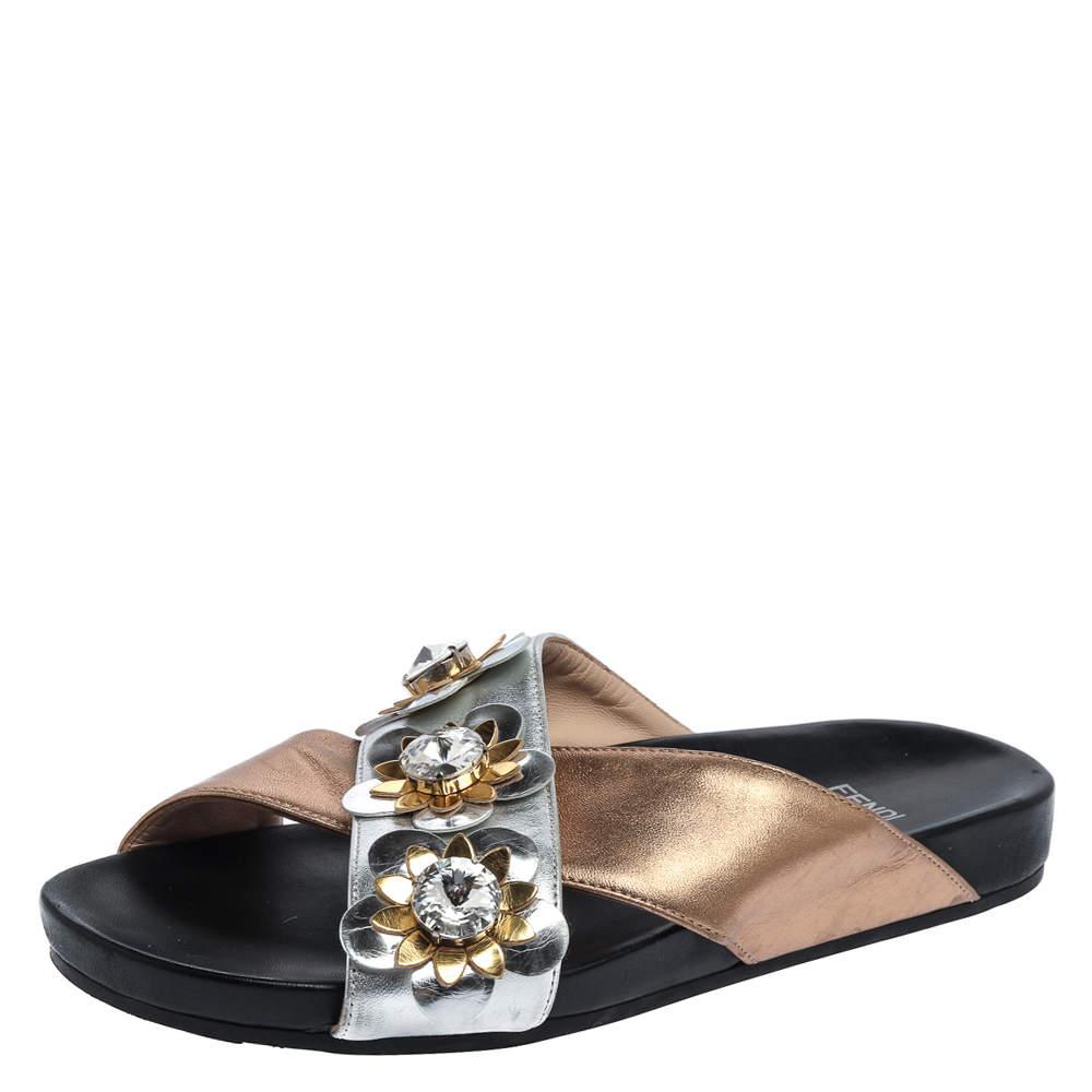 Fendi Gold/Silver Leather Crisscross Flowerland Slide Flats Size 37.5