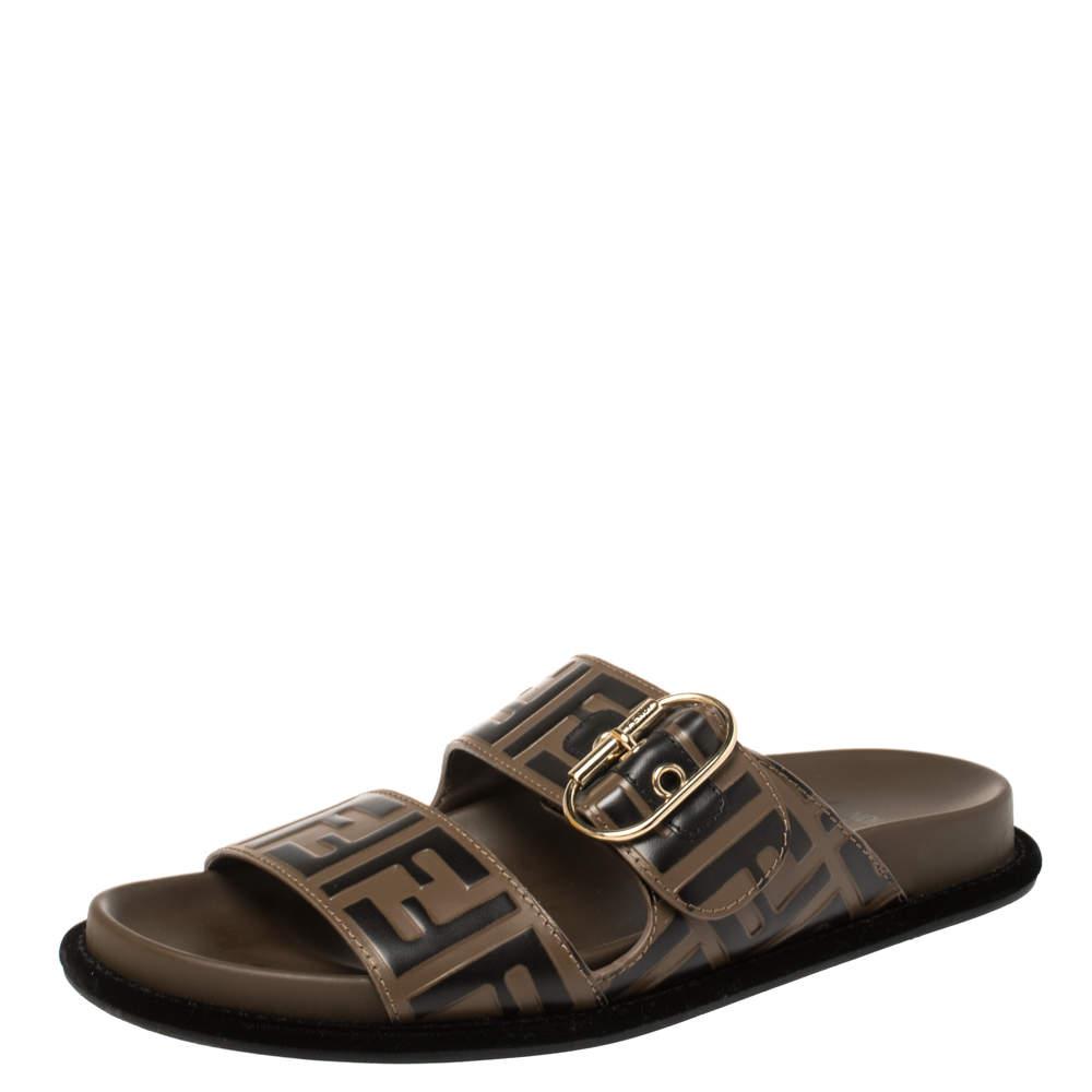 Fendi Brown Leather FF Buckle Slide Sandals Size 38