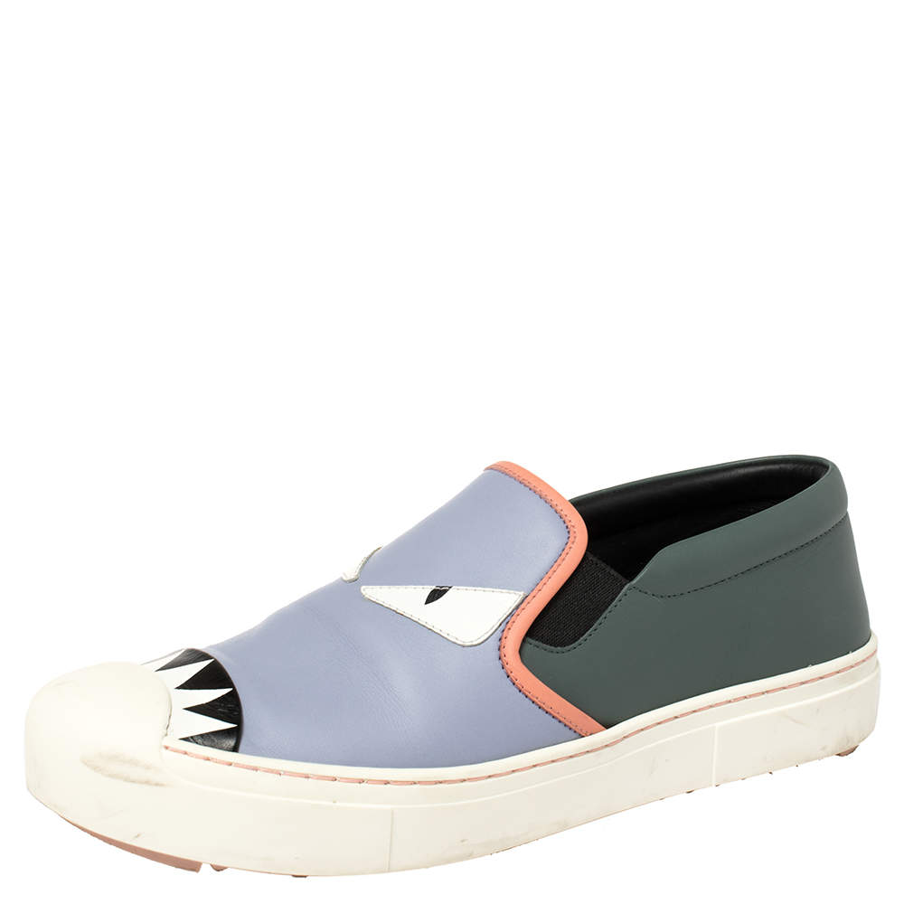 Fendi Multicolor Leather Monster Slip On Sneakers Size 39