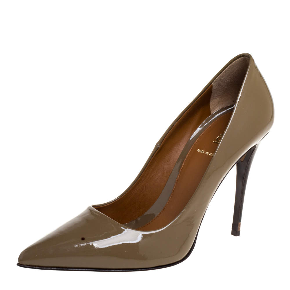 Fendi Brown Patent Leather Pointed Toe Pumps Size 38