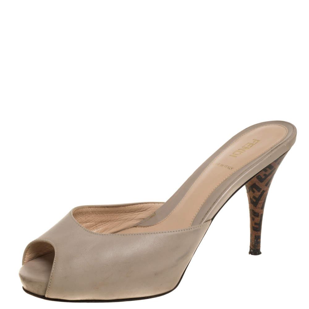Fendi Beige Leather and Zucca Heel Peep Toe Slide Sandals Size 38.5