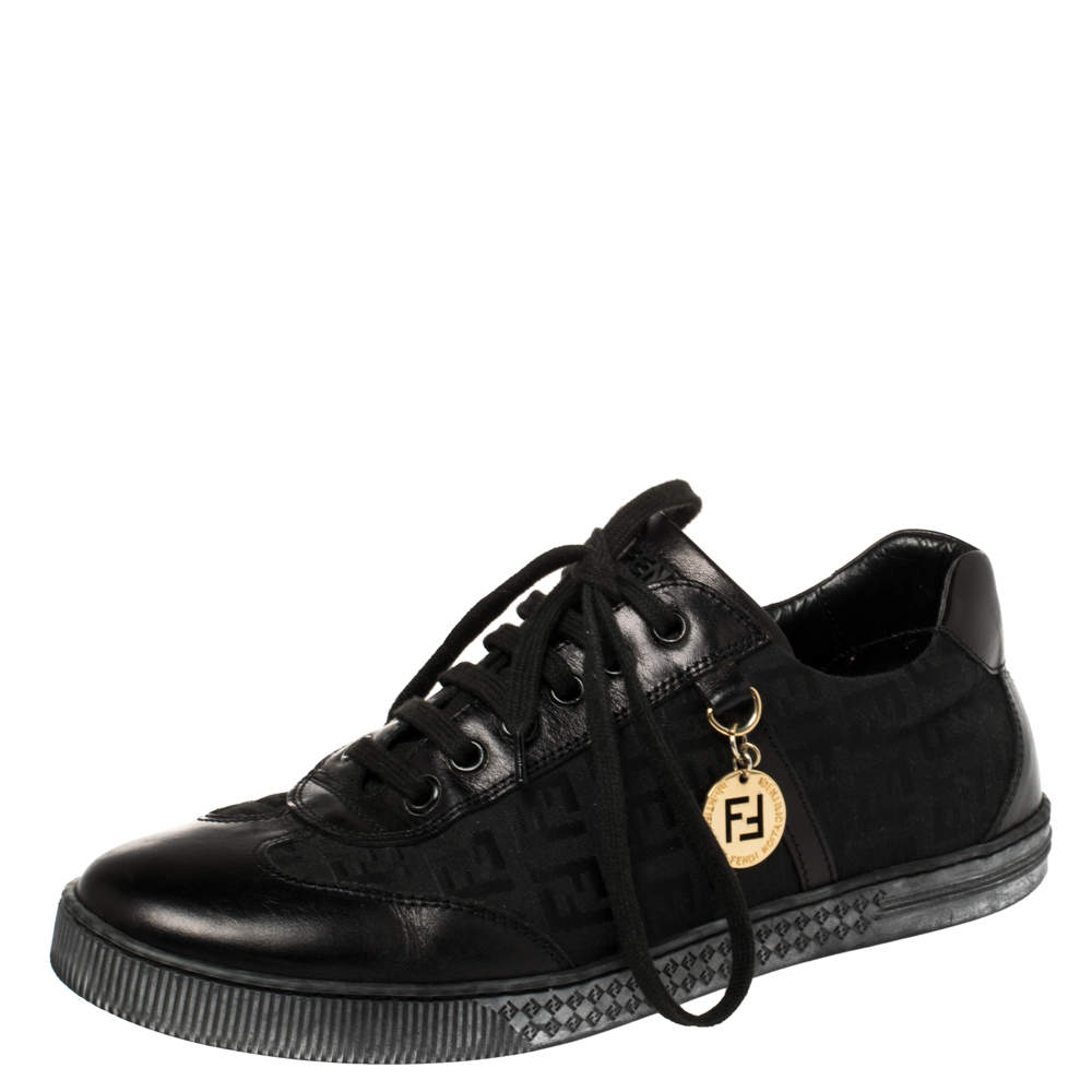 Fendi Black Zucca Canvas and Leather Low Top Sneakers Size 38