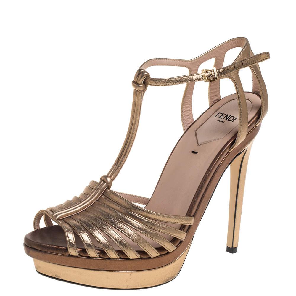 Fendi Metallic Gold Leather platform T strap Sandals Size 37