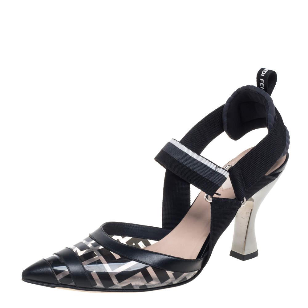 Fendi Black/Grey Leather And PVC Colibri Slingback Pumps Size 38