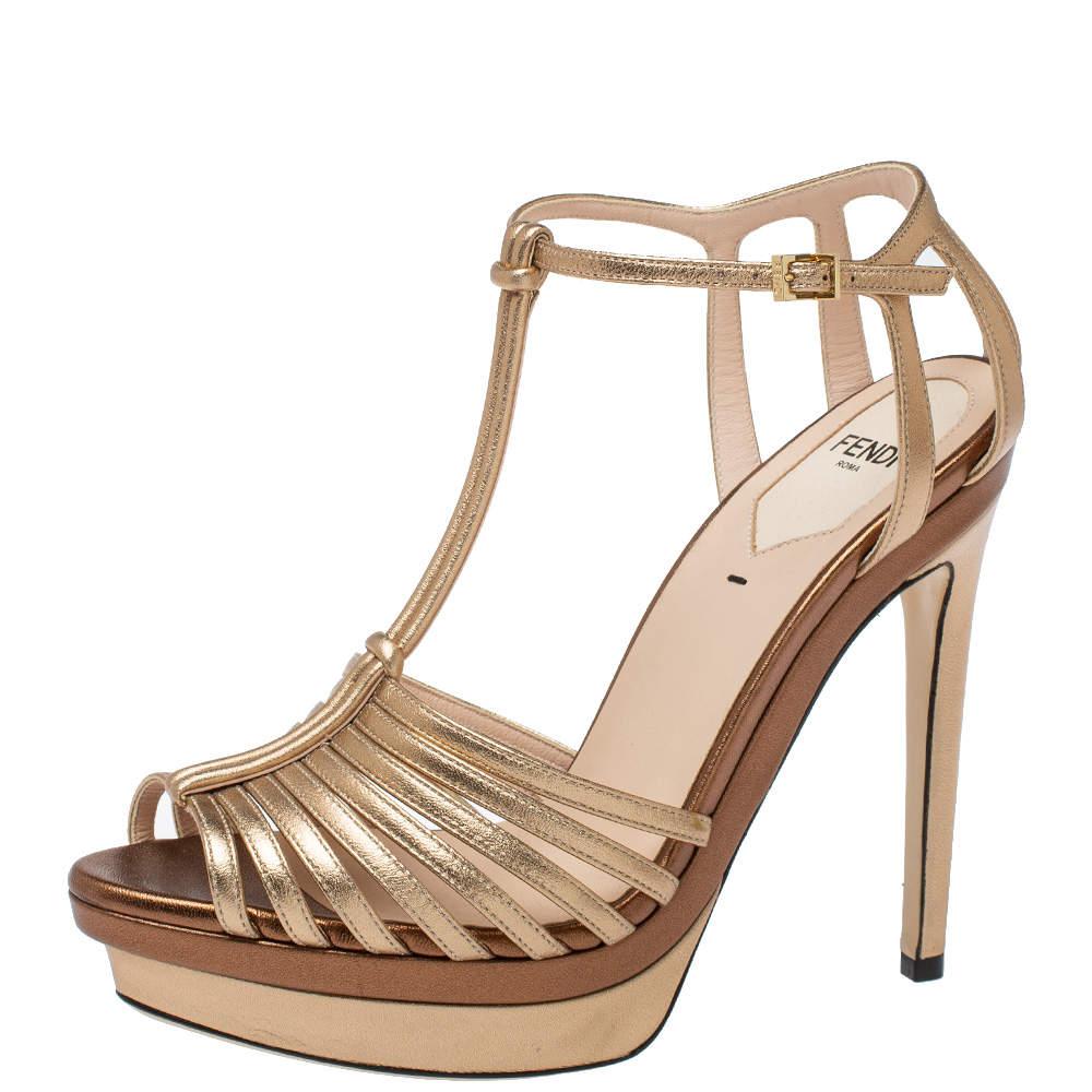 Fendi Metallic/Bronze Leather T Strap Peep Toe Sandals Size 37