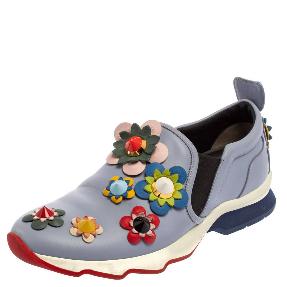 Fendi Blue Leather Flowerland Sneakers Size 40